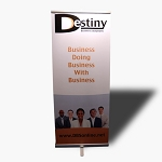 "Full Color Vinyl Banner w/ Retractable Stand 33.5"" x 78.5"""